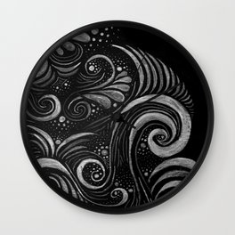 Organic Swirls | White on Black Wall Clock
