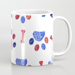 Doodle blue and red paw prints and bones seamless pattern Coffee Mug