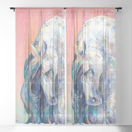 Horse portrait, Stallion, Stud Sheer Curtain