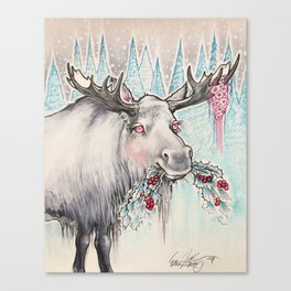 Sweet Holly Moose Canvas Print
