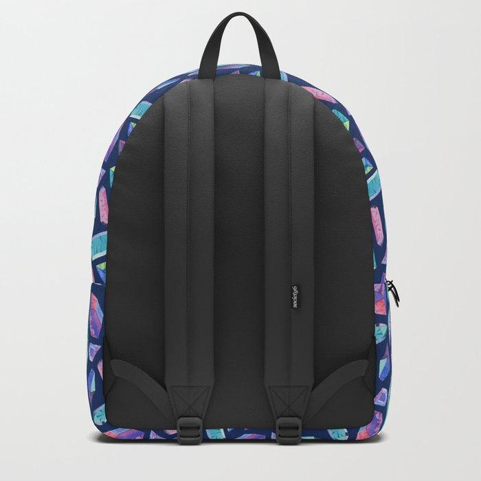 Rainbow crystals on navy Backpack