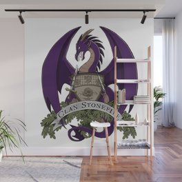 Clan Stonefire Crest - Purple Dragon Wall Mural