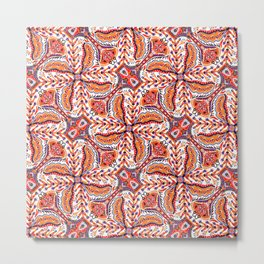 Bohemian Folkart Floral - Red, Blue and Orange Flower Pattern with Folklore Feel Metal Print