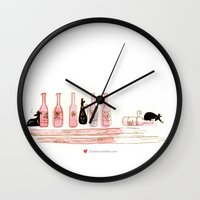 alcohol Wall Clocks featuring Alcohol Addiction by Zennore