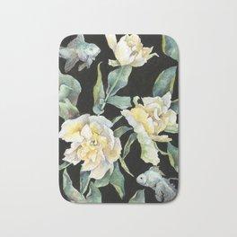 Velvet Tulips on Black Background Bath Mat
