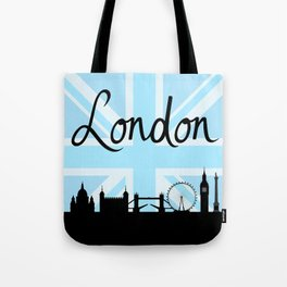 London Script on Union Jack Sky & Sites Tote Bag