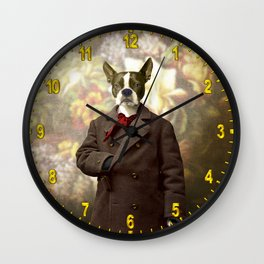 Barney the Boston Terrier in the Arboretum Wall Clock