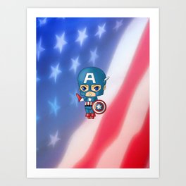 Chibi Captain America Art Print