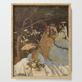 Monet- Women in the Garden, nature,Claude Monet,impressionist,post-impressionism,painting Serving Tray