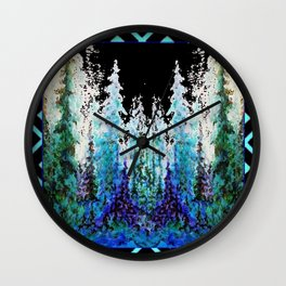 Western Turquoise Modern Art Mountain Trees Blue  Art Wall Clock