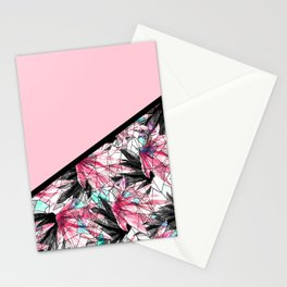 Blush Pink and Teal Abstract Tropical Leaves Stationery Cards