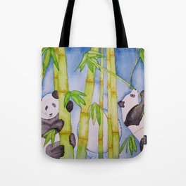 Playful Pandas by Moonlight Tote Bag