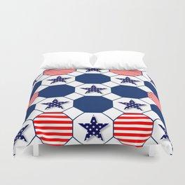 Nautical Patriotic Hexagons Duvet Cover