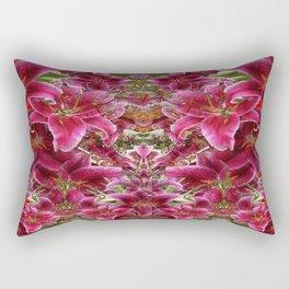 Red BURGUNDY ASIAN LILIES FLORAL MODERN ART Rectangular Pillow