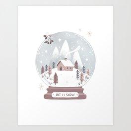 Snow Globe Christmas Art Print