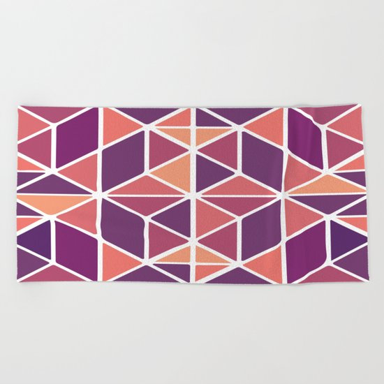 Purple Mosaic Beach Towel