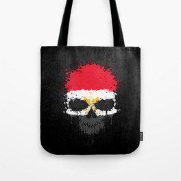Flag of Egypt on a Chaotic Splatter Skull Tote Bag