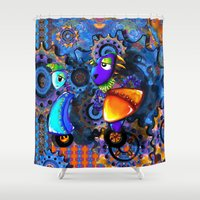 robots Shower Curtains featuring Robots by aboutlaila