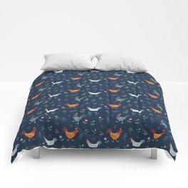 Little Hens (blue) Comforters