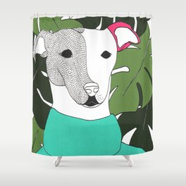Mr.T and monstera Shower Curtain