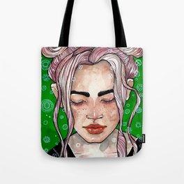 Girl in green Tote Bag