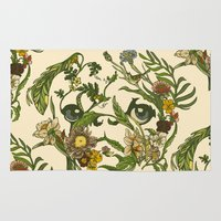 botanical Area & Throw Rugs featuring Botanical Pug by Huebucket
