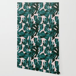 Monstera Leaves Pattern #4 #tropical #decor #art #society6 Wallpaper