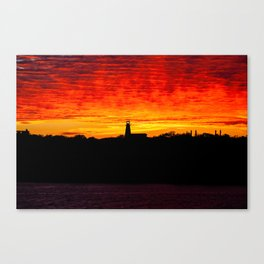 Lighthouse at Sunset on the Bay of Fundy. Canada. Canvas Print