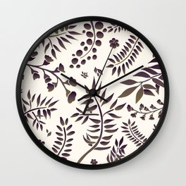 Botanical pattern on light beige background Wall Clock
