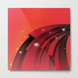 White Star Sparkles and Red Arcs Metal Print
