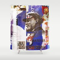 soviet Shower Curtains featuring Soviet times by LuzGraphicStudio