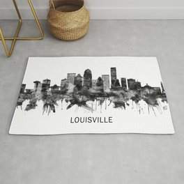 Louisville Kentucky Skyline BW Rug