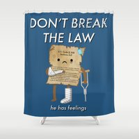 law Shower Curtains featuring Breaking The Law by Jake Friedman
