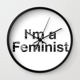 I'm a Feminist Distressed in Black Wall Clock