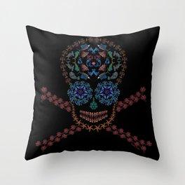 Marine Creatures Skull Throw Pillow
