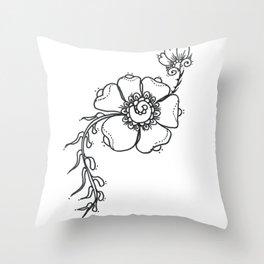 27. Black and White Henna Flower Throw Pillow