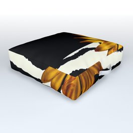 Animal Print Zebra Pattern Black and White Outdoor Floor Cushion