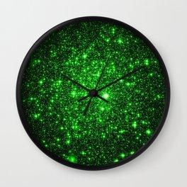 gAlAXy Green Sparkle Stars Wall Clock