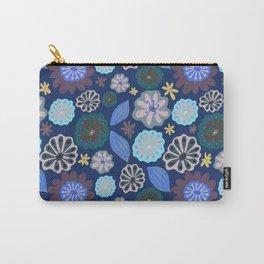 Aqua, Purple & Blue Pods & Flowers  Carry-All Pouch