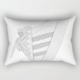 sneaker illustration, shoe drawing, 80s , black and white Rectangular Pillow