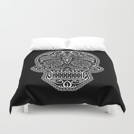 Intricate White and Black Day of the Dead Sugar Skull Duvet Cover
