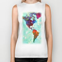 map Biker Tanks featuring Abstract Watercolor World Map by Gary Grayson