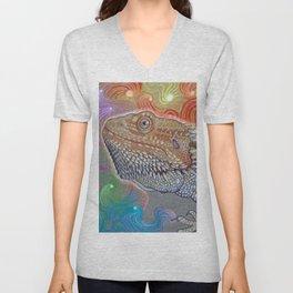 Cosmic Dragon, Bearded Dragon Art Unisex V-Neck