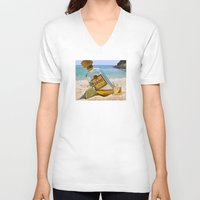 tequila V-neck T-shirts featuring Tequila! by Brocoli ArtPrint