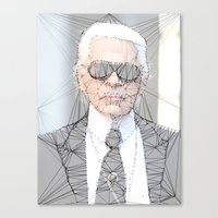 karl lagerfeld Canvas Prints featuring ICONS: Karl Lagerfeld by LeeandPeoples
