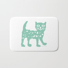 Mint cat drawing, cat drawing Bath Mat