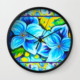 Blue Poppies 3 with Border Wall Clock
