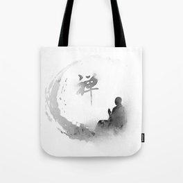 buddha and moon Tote Bag