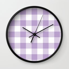 Lavender Gingham Pattern Wall Clock