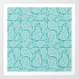 Paisley (White & Teal Pattern) Art Print